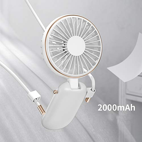SILENTLY Multifunktionale Hanging Neck Fan, 3-Fach Verstellbare Windgeschwindigkeit / 100 ° Winkeleinstellung, Wiederaufladbare Tragbare Personal Fan, Für Reisen/Sport/Outdoor,A