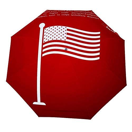 Paraguas Plegable con Bandera Nacional de Estados Unidos en mástil de Bandera,...