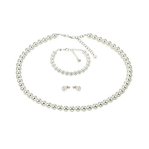Perlenkette Weiss Armband Ohrstecker Titan Schmuck-Set Platin-Auflage