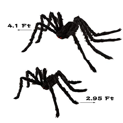 """QBSM 2 Pcs Realistic Hairy Giant Spider Real Large Fake Spiders for Halloween Outdoor Decoration House Prank Prop (One 49.2"""", One 35.4"""")"""
