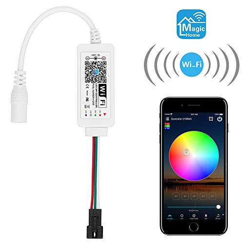 ALITOVE WS2811 Controller Smart WiFi APP Voice Control, Support Amazon Alexa Google Home, for DC12V~24V WS2811 SM16703 UCS1903 Addressable RGB LED Strip LED Pixel String Light (Not for 5V WS2812B)