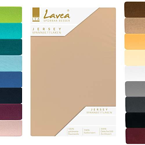 Lavea Jersey Spannbettlaken, Spannbetttuch, Premium Serie LEA, 140x200cm | 160x200cm, Sand, 100% gekämmte Baumwolle, hochwertige Verarbeitung, mit Gummizug und OekoTex100