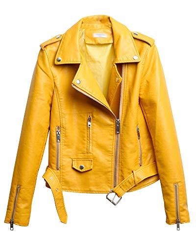 Shaoyao Cazadora Mujer Chaqueta Biker De Cuero Sintético con Cremallera Asimétrica Y Cinturón Amarillo M