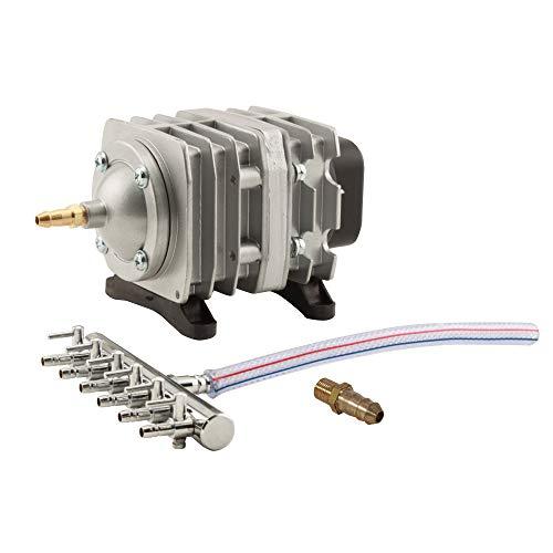 EcoPlus 728450 Eco Air1 Commercial Air Pump 1-18 Watt Single Outlet, 6 Valve Manifold For Aquarium, Fish Tank, Fountain, Pond & Hydroponics, 793 GPH, Silver