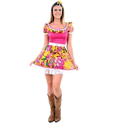 Vestido de Festa Junina Caipira Caipirinha Adulto Rosinha Com Tiara P 38-40