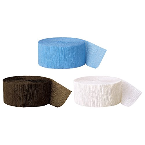 Andaz Press Crepe Paper Streamer Hanging Party Decorations Kit, 240-Feet, Baby Blue, Brown, White, 1-Pack, 3-Rolls, Boy Monkey Colored Wedding Baby Bridal Shower Birthday Supplies