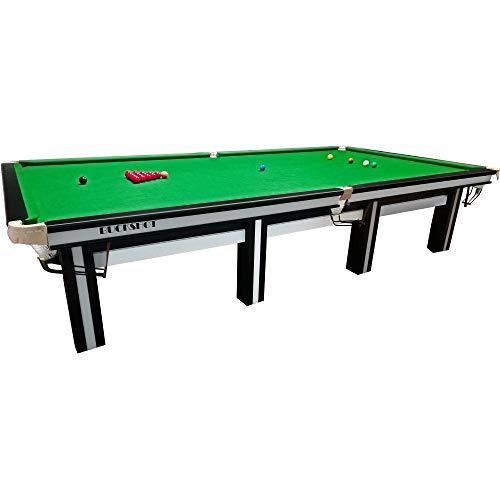 Buckshot Snookertisch 12ft - 370x195cm Cambridge Billardtisch Schwarz/Weiß - Grünes Tuch 12 fuß - 40 mm Schieferplatte - 990KG