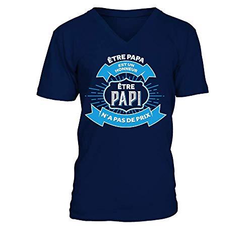 TEEZILY T-Shirt Homme Papa Papi fête des Grands-pères Anniversaire - Bleu Marine - L