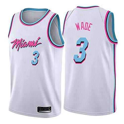 Shelfin - Camiseta de baloncesto de la NBA de Miami Heat del número 3 Wade, transpirable, grabada, color Blanco C, tamaño Large