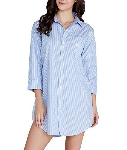 LAUREN RALPH LAUREN Essentials Striped His Shirt Carissa Bengal Stripe French Blue/White LG (US 12-14)