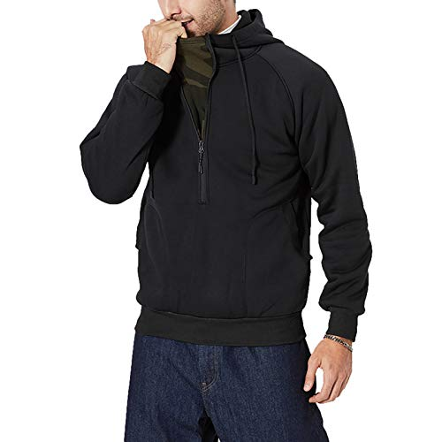 Mens Hoodies-Comfortable Zip-Up Hooded Top-Long Sleeve Jacket with Ribbed Cuff Black
