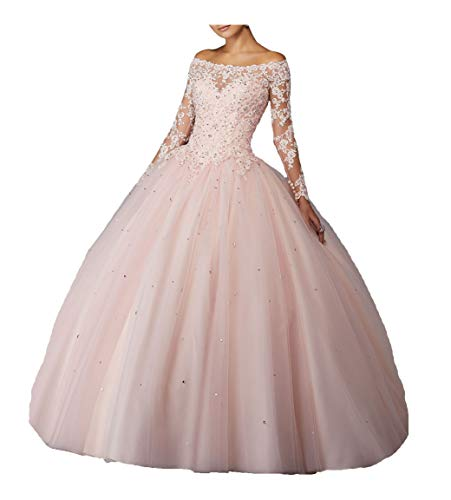 Yang Women Sheer Lace Long Sleeve Ball Gowns Tulle Beaded Girls Quinceanera Dresses