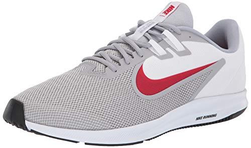 Nike Men's Downshifter 9 Running Shoe, wolf grey/university red - white, 8.5 Regular US