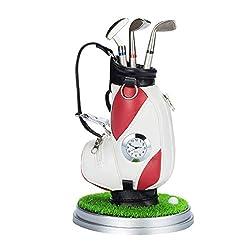 NUOBESTY Mini Desktop Golf Bag Pen Holder with Golf pens Clock Pencil Holder Gifts Golf Souvenirs for Men Fathers Golfer Fans (Random Color)