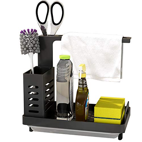 Product Image of the MKO Kitchen Sink Caddy Organizer, Sponge Holder for Sink Stainless Steel Soap Brush Dishcloth Holder with Drain Pan, Freestanding or Wall-Mounted (Black)