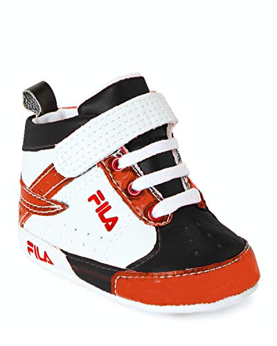 Fila Baby Boys Trapunto High Top Sneaker Crib Shoes (Black/White/Red, 6_Months)