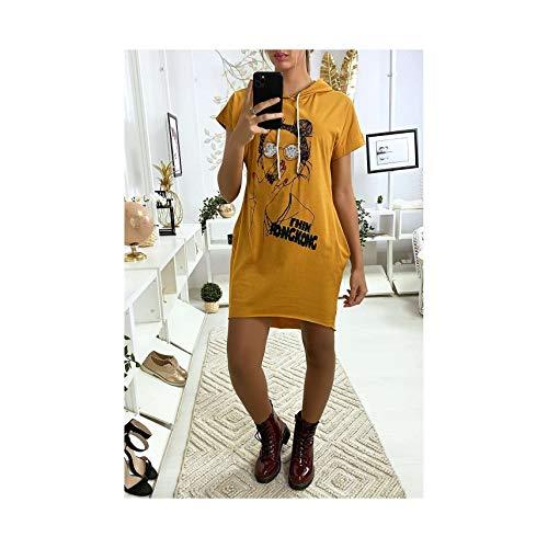 Miss Wear Line - jurk van mosterdsweatshirt met zakken en tekening vooraan (26-18481-mosterf)