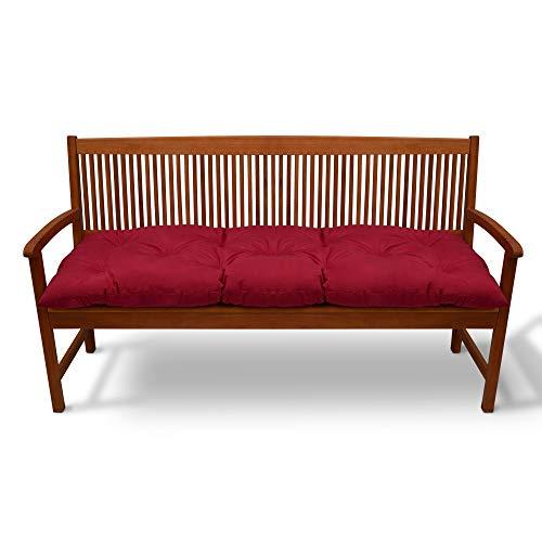 Beautissu Bankauflage Flair BK ca.100x50x10 cm - Sitzkissen Bank Polster Auflage Gartenbank Sitzauflage Polsterauflage Kissen Rot