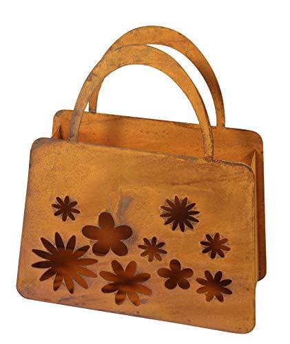 Bornhöft Tasche zum Bepflanzen Windlicht Beetdeko Metall Rost Gartendeko 27cm x 32cm Edelrost rostige Deko für den Garten (Blüten)