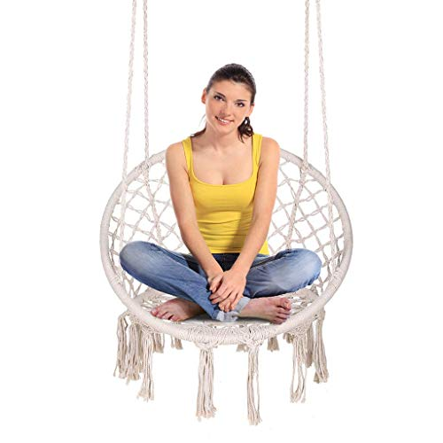 ENKEEO Hammock Chair Macrame Swing, Hanging Rope Chair Cotton Fabric for Indoor & Outdoor Home...