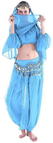 Seawhisper Jasmin Kostüm Damen Jeannie Kostüm Damen Erwachsene Indische Bauchtänzerin Kostüme Blue