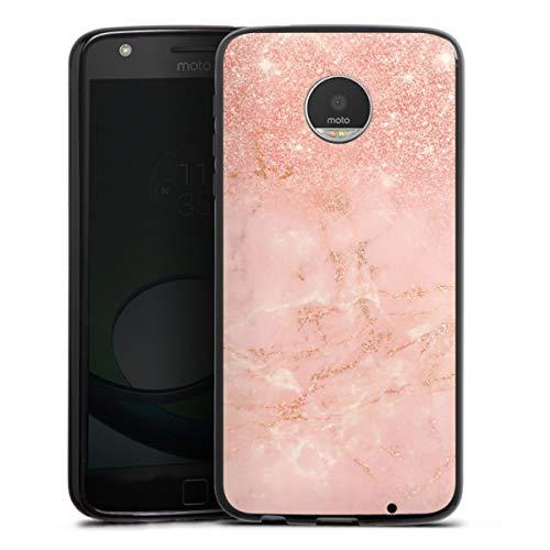 DeinDesign Silikon Hülle kompatibel mit Lenovo Moto Z Play Hülle schwarz Handyhülle rosa Muster Glitter