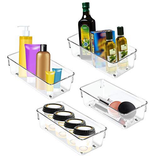 Koelkast Opslag Tray (4Stk) - Helder Transparant Acryl Koelkast Bakjes – Boorraadkast en Keuken Opslag Container – Toilet Organizer Bak – Diepvries, Kast en Lade Organizer Bakken (20cm)