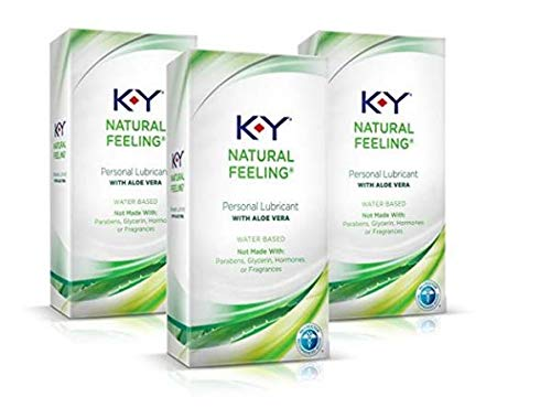 Personal Lubricant, K-Y Natural Feeling with Aloe Vera Sex Lubricant, 5.7 oz, Pack of 3, Sex Lube for Women, Men & Couples. Safe to use with Devices, Sex Toys, and Vibrators