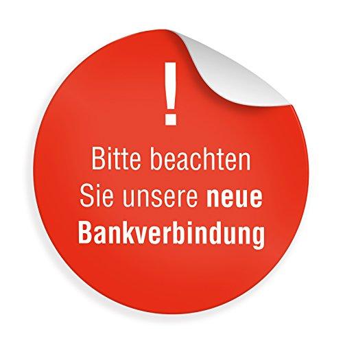 """24 x itenga Sticker """"Hinweis Bankverbindung"""" (Motiv 46) Aufkleber für neue/geänderte Bankverbindung selbstklebend runder Aufkleber 4cm"""