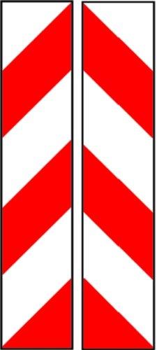 LEMAX® Schild Alu Warnmarkierung, weiß/rot linksweisend, reflektierend 705x141mm, 1 Stück