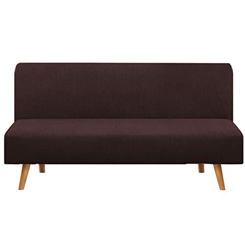 JBNJV Funda de sofá elástica sin Brazos, 1 Pieza Funda de sofá Cama Funda de sofá, Funda de sofá Lavable Protector de Muebles con Fondo elástico para Sala de Estar-Marrón.3 Asientos