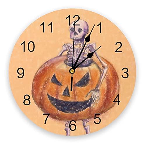 Reloj de Pared Redondo de PVC, Esqueleto Divertido de Halloween con Linterna de Calabaza, Reloj de decoración con Pilas de Cuarzo silencioso Naranja para Cocina, Sala de Estar, Dormitorio, Oficina