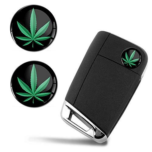 SkinoEu® 2 x Ø14mm Marijuana Marihuana Hemp Cannabis Schlüssel Emblem Aufkleber Stickers Für Fernbedienung Auto Moto Logo Key Badge Tuning KS 149