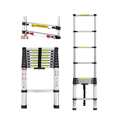 2,6m Aluminium Mehrzweckleiter Teleskopleiter Ausziehbar Leiter Klappleiter Anti-Rutsch Stufen Multifunktionsleiter Trittleiter 150KG Belastbarkeit