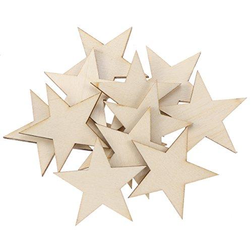 NUOBESTY Holz Scheiben Stern Form Natürliche Holz Ausschnitte Tisch Streu Deko für DIY Handwerk zum Basteln Bemalen 40mm 50 Stück