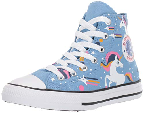 Converse Girls' Chuck Taylor All Star Unicons Sneaker, Light Blue/Black/White, 4 M US Big Kid
