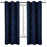 BGment Navy Star Blackout Curtains for Kid's Bedroom - Grommet Thermal Insulated Room Darkening Printed Curtains for Living Room, Set of 2 Panels (42 x 63 Inch, Dark Blue)