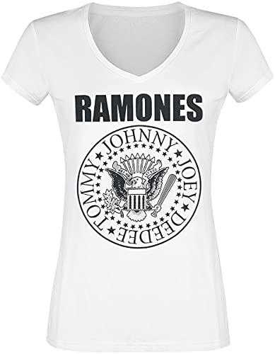 Ramones Eagle Logo Mujer Camiseta Blanco XXL, 100% algodón, Regular