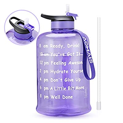 AOMAIS Motivational Gallon Water Bottle with Time Marker & Straw, BPA Free Big Water Bottles,Wide Mouth, Leak Proof Lid with Spout, Reusable Plastic Large Water Jug for Camping Sports Outdoor Activity