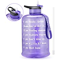 AOMAIS Motivational Gallon Water Bottle with Time Marker & Straw