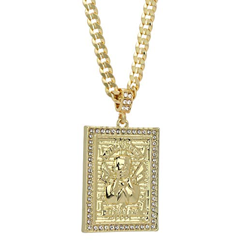 "Mens 14k Gold Plated Cz MALVERDE Pendant Hip-Hop 6mm 24"" Cuban #98 Chain"