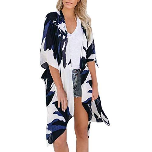 Vectry Blusas para Mujer Playa Cardigan Negro Mujer Kimono Mujer Sexy Pareo Vestido Mujer Camiseta Mujer Verano Blusa De Mujer Elegante Navy
