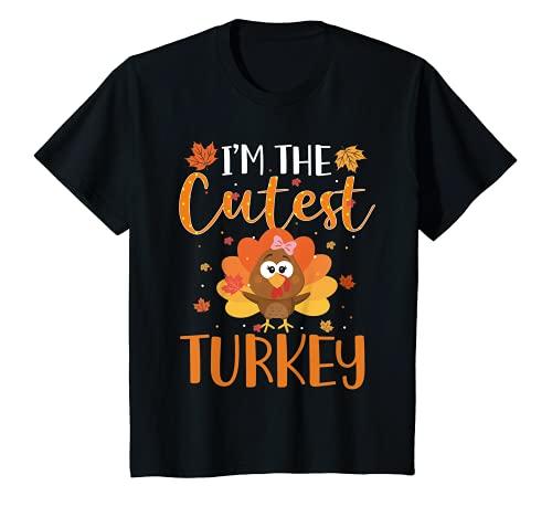 Kids Cutest Turkey In The Flock Toddler Girls Thanksgiving Kids T-Shirt