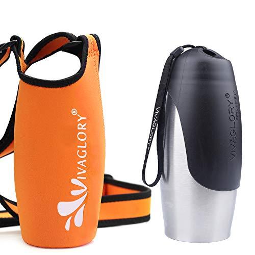 VIVAGLORY 750 ml Edelstahl Wasserflasche für Kleine und Große Hunde mit Trinkflaschenhalter aus Neopren in Orange mit Verstellbarem Breitem Schultergurt