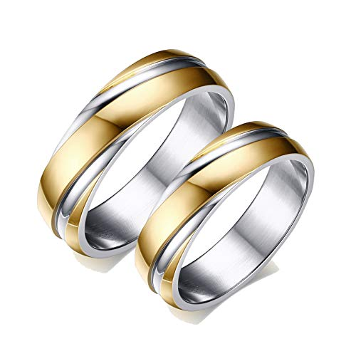 ANAZOZ 2 Stück Damen Herren Verlobungsring Edelstahl 6mm Twist Bicolor Poliert Ringe für Damen Herren Ringe Partnerringe Gold Damast Eheringe mit Kostenlos Gravur Frau:52 (16.6) & Mann:67 (21.3)