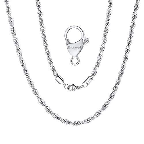 ChainsPro 3/6 MM Collar SOGA de Mujeres, Braided Twist Rope Chain, Cadena Trenzada Cuerda Acero Inoxidable Plateado/Dorado/Negro, Joyería de Moda 46-76CM Largo (Ofrecer Servicio Grabado)