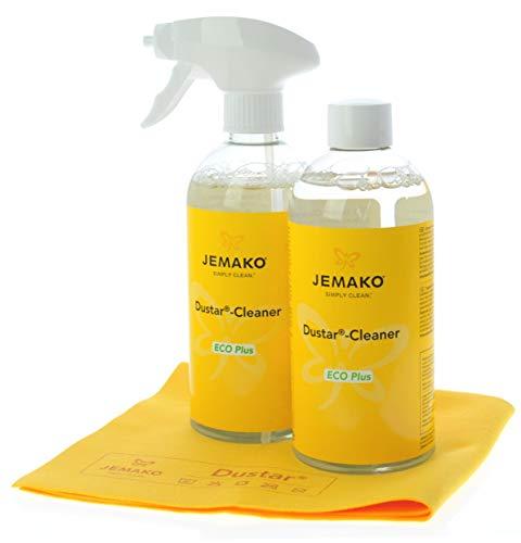 Jemako Staub-Set - Dustar Cleaner 1 Liter (2 Flaschen á 500ml) - inkl. Dustar-Tuch, 35 x 40 cm - Sprühpumpe & Sinland Feinmaschiges-Wäschenetz