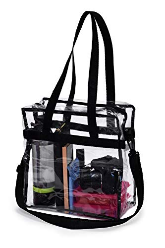 Clear Tote Bag NFL Stadium Approved - Shoulder Straps and Zippered Top. Perfect Clear Bag for Work, School, Sports Games and Concerts. Meets NFL and PGA Tournament Guidelines. (Black)