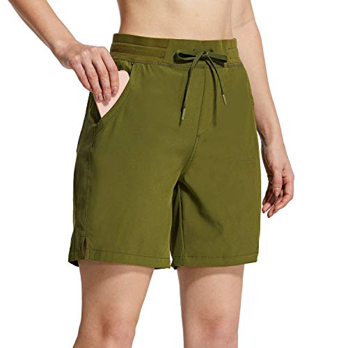 """BALEAF Women's 7"""" Hiking Shorts 5 Pockets Quick Dry UPF 50+ Stretch Workout Shorts for Camping, Travel, Running Green Size L"""