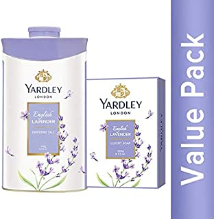 Yardley London English Lavender Luxury Soap 100g (pack of 4) + Yardley London English Lavender Perfumed Talc 100g